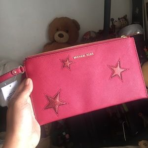 MK NWT wristlet clutch wallet red stars